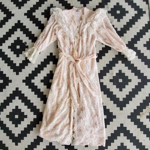 Vintage Christian Dior GLAMOUR Pink Lacy Robe S/M